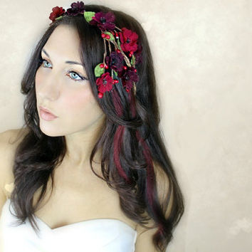 Flower Crown Cascade Red Millinery Flowers Wedding Tiara by deLoop