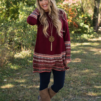 Icelandic Comfort Sweater Tunic - Burgundy