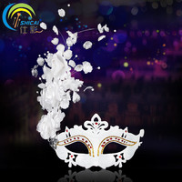 Ball Princess Masquerade Female Party Mask Pearl Flower Mask White