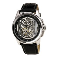 Kenneth Cole KC8100 Men's New York Automatic Silver Skeleton Dial Black Leather Strap Watch