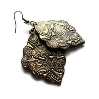 Moroccan earrings, black - bronze, bold polymer clay jewelry, henna, mehndi