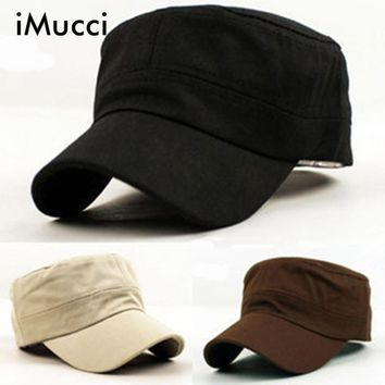 iMucci Fashion Plain Vintage Army Cadet Style Cotton Cap Adjustable Classic Women Men Snapback Caps Vintage Army Hat