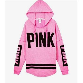 Victoria's Secret PINK Women's Fashion Letter Print Hooded Long-sleeves Pullover Tops Sweater I