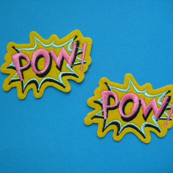 2 pcs iron-on Embroidered Patch POW (pink) 3.1 inch