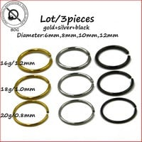 BOG-3 Pieces Surgical Steel Adjustable By Hand Seamless Nose Hoop Ring Body Piercing Jewelry 16g 18g 20g Gold Silver Black