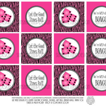 Printable Bunco Hot Pink & Zebra Cupcake Toppers, Sticker Labels & Party Favor Tags