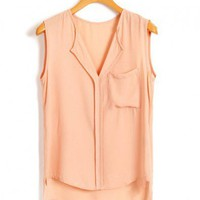 High Low Sleeveless Blouse in Chiffon