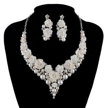bridal Wedding pearl Jewelry Sets fashion porcelain flower bright AB  color Rhinestone necklace earrings set  silver crystal