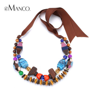 Colorful bead necklace multilayer rope necklaces for women 2015 wooden beaded resin adjustable handmade choker necklace eManco