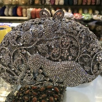 luxury sivler animal bridal clutch