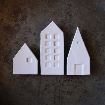 Ceramic mini city magnets, set of three white modern magnets for you inspiration board