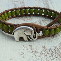 Green Leather Wrap Bracelet, Baby Elephant Jewelry, Olive Green Beaded Bracelet, Boho Bohemian Style, Earthy, Earthtones, Rustic