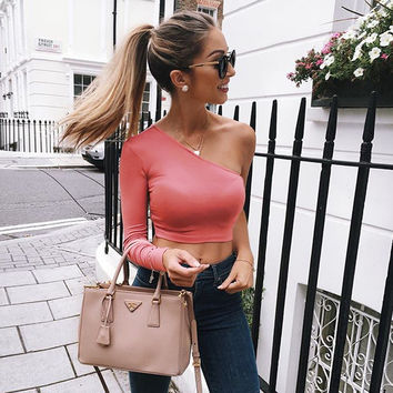 Sweet Long Sleeve One Shoulder Red Crop Top