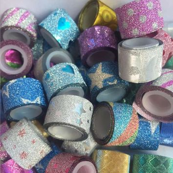 Hot sales 2M Glitter Washi Sticky Paper Mini Color Tape DIY Decorative Adhesive Tape Masking Tape Sticker for Home Decoration