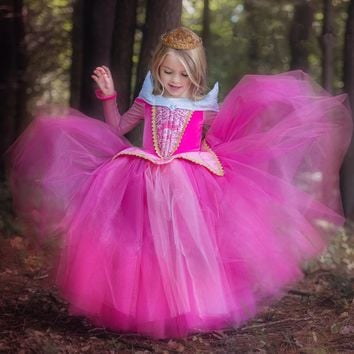 Girl Dress 2017 Fashion Sleeping Beauty Aurora Princess Full Sleeve for Kids Girls Party Dress Halloween Cosplay Costume 22