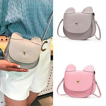 Cat Ear Mini Messenger Handbag PU Leather Crossbody Bag