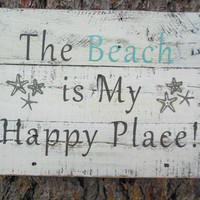 "Nautical White Washed Blue and Grey ""The beach is my happy place"" Pallet Wood Sign"
