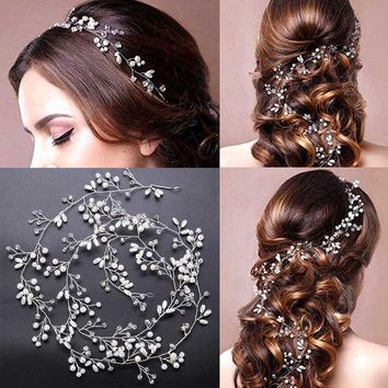 DCCKL3Z Luxury Crystal Handmade Long Bridal Headband Headpiece Pearl Hairbands Wedding Hair Accessories Bride Head Chain SL