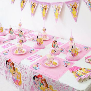 Princess Birthday Party Supplies Tableware set-Kids Birthday Party Decoration Set-Girls Theme Party-72PCS