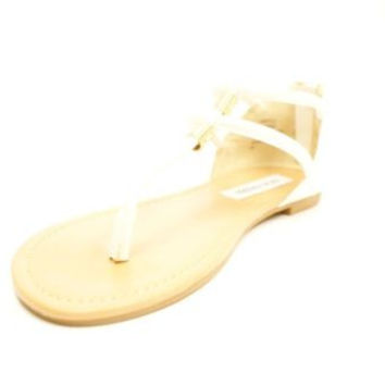 Steve Madden Rantt White Leather Thong Sandals Women's 6.5 M NIB