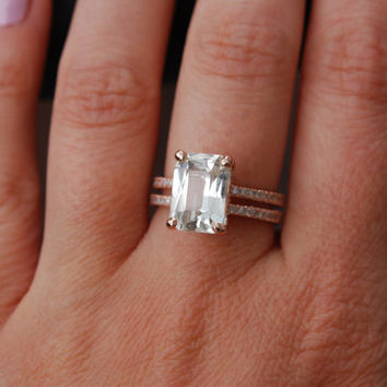 Emerald cut Engagement ring Blake Lively ring White Sapphire Engagement Ring 14k rose gold diamond ring 4.75ct sapphire engagement ring