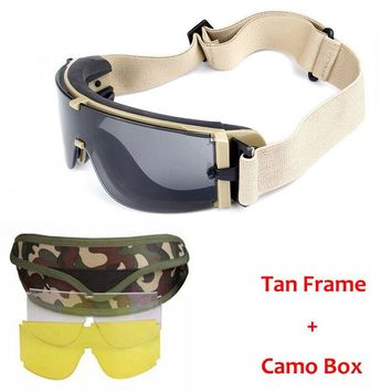 Military X800 Tactical Shooting Glasses Paintball Airsoft Sport Safety Goggles 3 Lens Men Outdoor Hunting UV400 Sunglasses