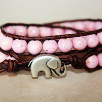 Elephant Bracelet, Leather Beaded Wrap Bracelet 2x, Elephant Jewelry, Light Pink Fossil Stone, Boho Chic, Lucky Jewelry