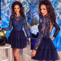 Elegant Long Sleeve Blue Lace Short Cocktail Dresses 2016 Sexy Backless Prom Party Gowns Cheap Tulle Knee Length Cocktail Dress