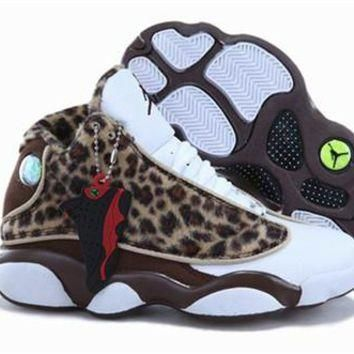 New Nike Air Jordan 13 Kids Shoes Leopard Brown White