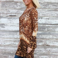 Get The Party Started Leopard Print Tunic/Dress With Neck Detail ~ Gold ~ Sizes 4-10