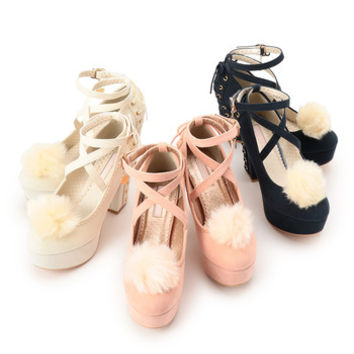LIZ LISA Cross Strap Pom Pom Pumps (Limited Edition)
