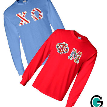 CUSTOM Combo Color Long Sleeve Greek (Sorority or Fraternity) Letter T-Shirts