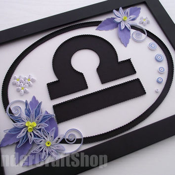 astrology art, zodiac wall art, birthday libra, Libra, quilled Libra sign, libra art, Libra star sign, zodiac libra, gift for Libras, zodiac
