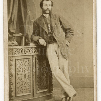 CDV Carte de Visite Photo Victorian Young Smart Man, Mustache Sideburns Casual Portrait - R Wright of York England - Antique Photograph