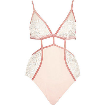 White and pink crochet mesh lingerie bodysuit