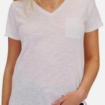 Alexa Curve Cotton Slub Tee in Off White