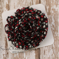 Rosette Hair Clip, Black Red White Heart Hair Clip, Frayed Chiffon Hairclip, Children's Hair Accessories, Toddler Hair Clip, Girls Hairbow