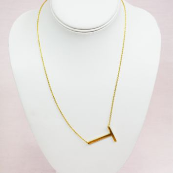 gold modern touch initial necklace - t