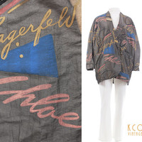 "Lagerfeld Chloe Jacket 1980's Vintage Iridescent Windbreaker Graffiti Art Print Women's Size XXL 57"" Bust / Parfums Rare 80's Retro Clothing"