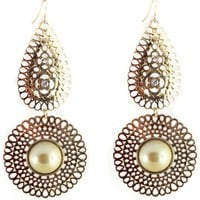 Luxe Gold Hollow-Out Faux Pearl Cocktail Earrings - OASAP.com