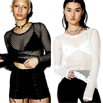 Fashion Women Mesh Fishnet Long Sleeve Sheer Tops T shirt New Sexy Perspective Tee Shirt Solid Black White
