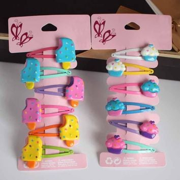 6pcs/lot girls hair Barrettes plastic Ice bully accessories children's snap hair clips hairpin kids crystal Ice cream bobby pin