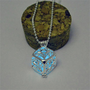 Blue glow in the dark silver 3d cube pendant necklace, key ring, or rear view mirror hanger