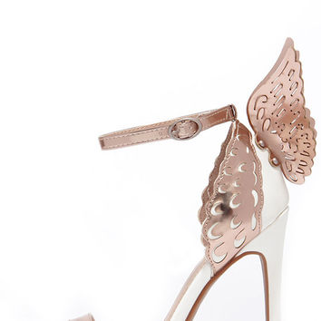Ooh You're an Angel White and Rose Gold Winged Heels