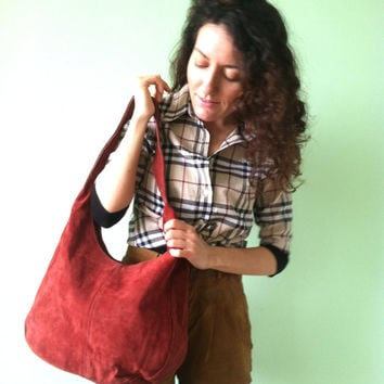 90s Suede Bag, Marron Hobo Bag, Genuine Leather Bag, Festive Boho Bag, Suede Slouch Bag, Leather Sling Purse,Large Handbag Made  in Poland,
