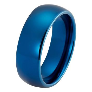 Blue Wedding Band Tungsten Carbide Mens Wedding Band Man Engagement Ring Male Wedding Ring Anniversary Promise High Polished 8mm Matching Blue Ring Scratch Proof