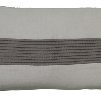 """Corded Gathers Gray Pillow Cover (11"""" x 21"""")"""