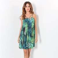 Spaghetti Strap Print Backless One Piece Dress [11751731215]