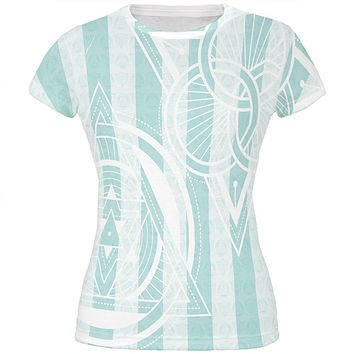 Summer Sacred Geometry Teal Stripes All Over Juniors T Shirt