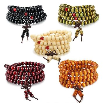 Sandalwood 108 8MM Buddhist Prayer Bead Mala Wood Necklace Bracelet Strand Wrist